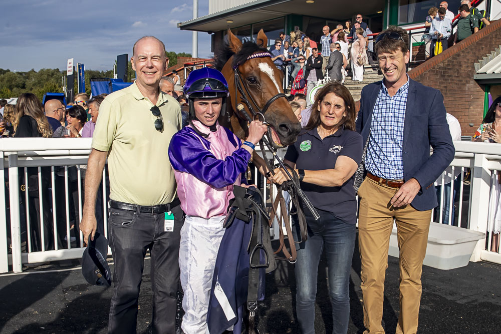Jim Atkinson, Rossa Ryan, Kath Tuer & Grant Tuer in the winners' enclosure with hero Two Hearts after his win at Wolves Photo:- J Hipkiss